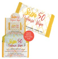 HA-AC-051 SUN 50 DEFENSE WIPES 50/BX RETAIL DISPLAY BOX SUNSCREEN